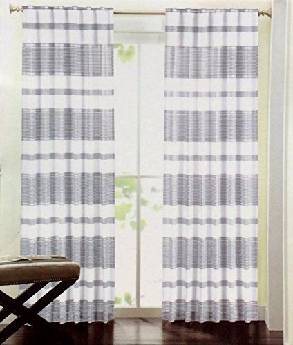 Curtains Ideas brown white striped curtains : Hillcrest Wide Stripes Curtains 2 Panels 52 by 96-inch Set of 2 ...