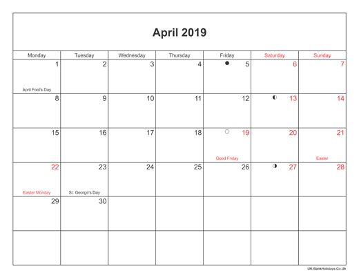 April 2019 Moon Phases Calendar #april #april2019