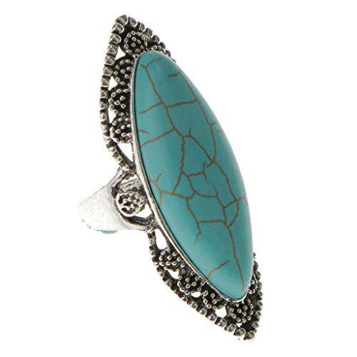 Charm Vintage Ladies Turquoise Ethnique Gravure Bijoux réglables Bijoux