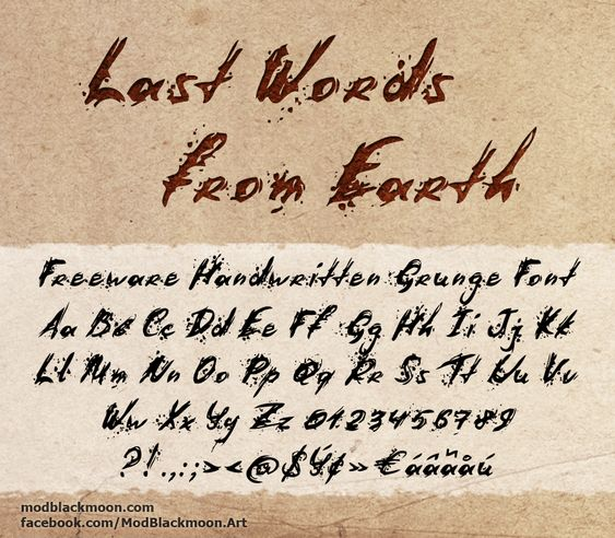 Last Words from Earth Font | dafont.com