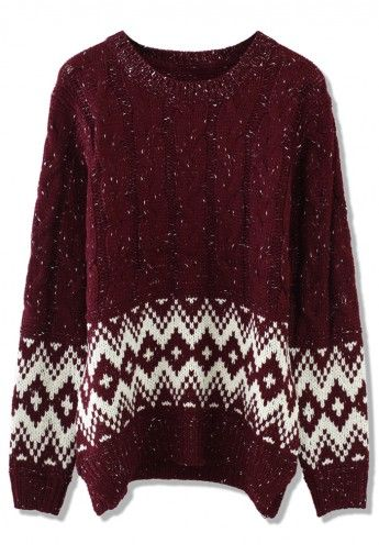 Cable Knit Zig Zag Sweater in Wine Red: