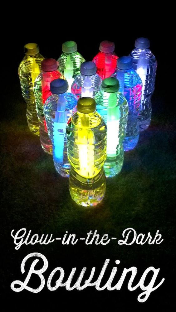 Fill plastic water bottles nearly to the top, then add glow sticks, and seal them up tight. Arrange the bottles in bowling pin formation, and have some fun in the dark!