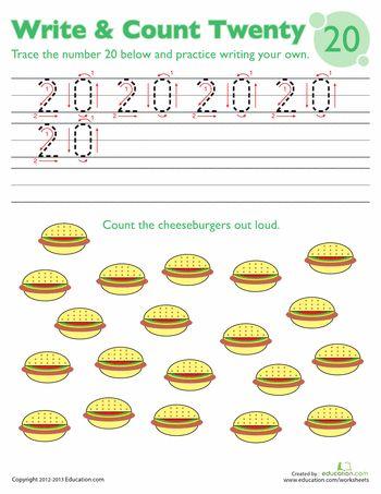 Tracing Numbers & Counting: 20 | Number worksheets, Kindergarten ...