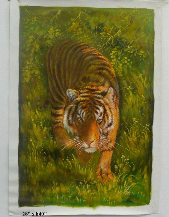 Oil Paint Canvas Art Portrait Tiger Wall Decor