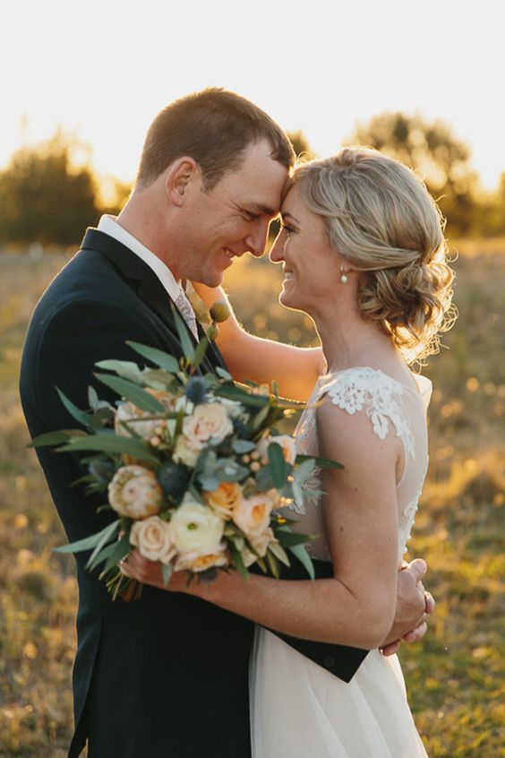 Newlyweds In Country Wedding | Shutter and Lace Photography on @polkadotbride via @aislesociety