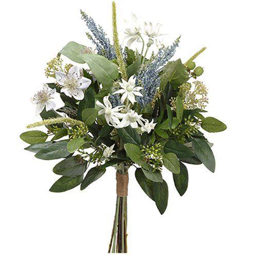 19 Nigella Edelweiss Astilbe Silk Flower Bouquet White Blue Pack Of 6 Artificial Wedding Bouquets Blue Wedding Bouquet Red Wedding Flowers