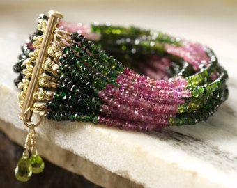 Bracelet démeraude Bracelet vert Tourmaline par TeeceTorre sur Etsy