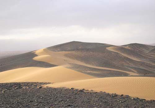 Sand invasion in Merzouga, Morocco