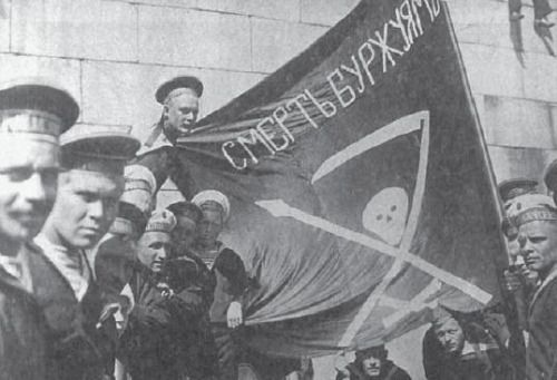 Anarchist Russian sailors of the Baltic Fleet in Helsinki, the flag reads 'Death to the Bourgeoisie!', 1917