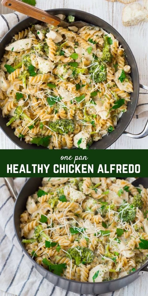 Easy Chicken Alfredo with Broccoli - ONE PAN + Healthy