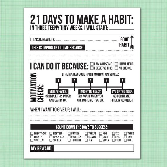 Good habits and 21 days on Pinterest
