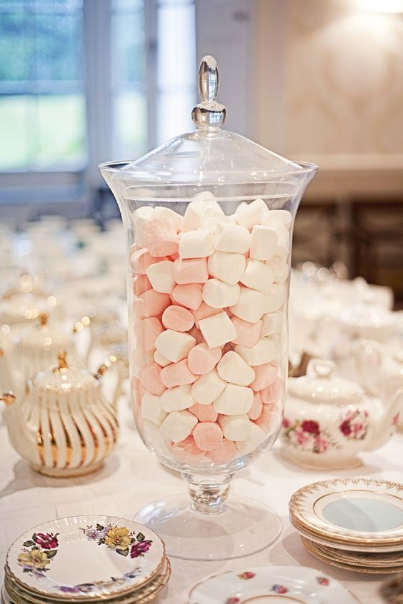 tea party wedding? - fab glass jars - I put cotton wool pads in mine!: