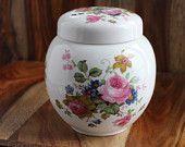 Jarre vintage en céramique fleurie - Sadler England - Pot vintage avec couvercle - Jarre à biscuit - Jarre à fleurs - Orange Rétro