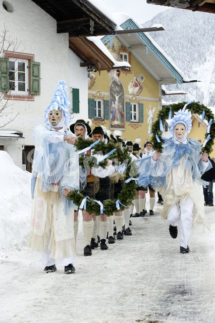 Germany, Bavaria, Mittenwald, traditional carnival procession
