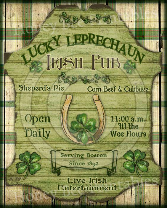 Prim Lucky Leprechaun St Patrick Irish Pub by HoneyBeePrintables