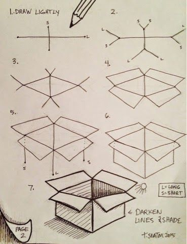 How to draw a box: step by step::