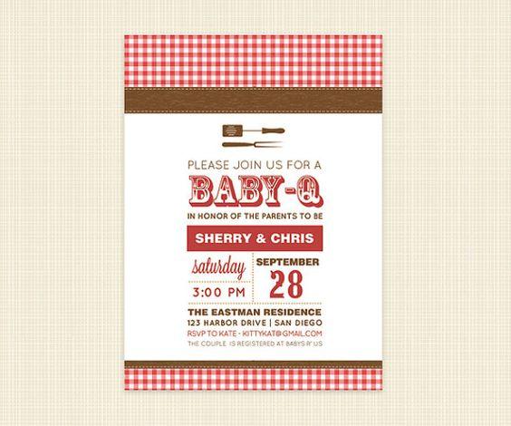 BBQ Invitation   DIY Printable Couples Shower Baby by konadesigns