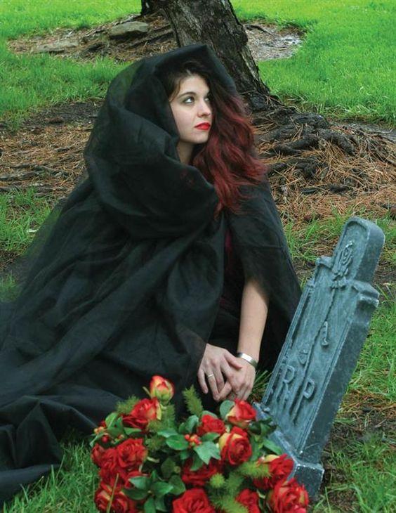 Adult Women's Full Length Black or White Ghost Cape Halloween Costume #Handmade #Cape