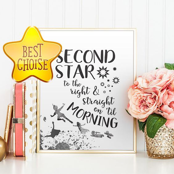 Neverland Nursery Quote Peter Pan Quotes Second star to the right Peter Pan Quote Art Print Neverland Digital Print Printable Disney by OohPrint on Etsy https://www.etsy.com/au/listing/384412698/neverland-nursery-quote-peter-pan-quotes