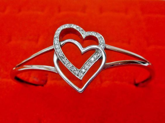 1/4 CT Diamond Double Heart Bangle Bracelet .925 Sterling Silver Anniversary  #Bangle