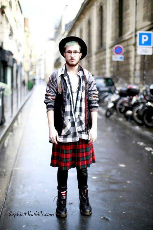 #men #ariebenchetrit #kilt #tartan #skirt #bomber #look #outfit #fashion #style #streetstyle #street #women by #sophiemhabille