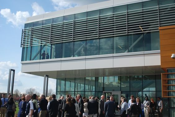 Attendees gather outside of the new Boehringer Ingelheim Research and Development Facility at the ISU Research Park on Thursday. Photo by Grayson Schmidt/Ames Tribune  http://amestrib.com/news/boehringer-ingelheim-opens-new-facility-isu-research-park