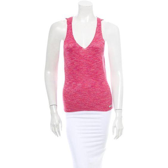 Pre-owned D&G Sleeveless Top ($85) ❤ liked on Polyvore featuring tops, pink, v neck tank top, v-neck tops, v-neck tank top, sleeveless knit top and sleeveless tops