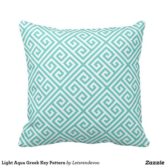 Light Aqua Greek Key Pattern Throw Pillows home decor Pinterest Greek key, Lights and Aqua