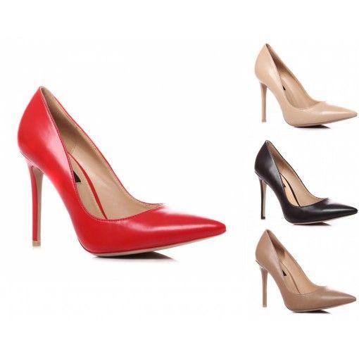elegante high-heel in Lederoptik. Sie haben die Wahl zwischen auffallenden und natürlichen Farbtönen.