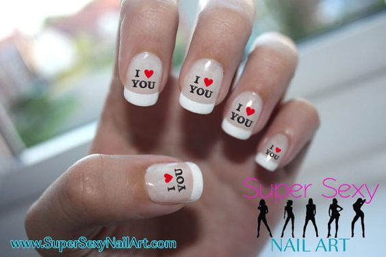 I Heart You Valentine Nail Art Water Transfer by SuperSexyNailArt, $2.45
