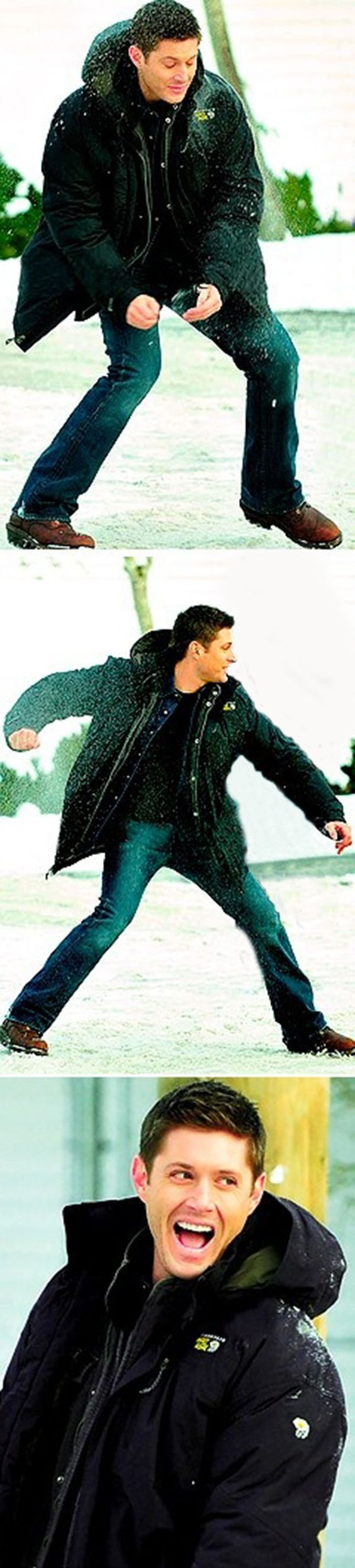 Jensen Ackles being cute between the scenes and making me wish it would snow...