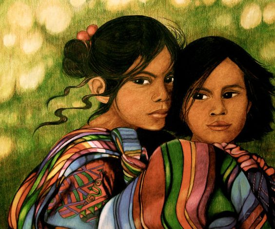 young sisters from guatemala by PrintIllustrations on Etsy, $20.00