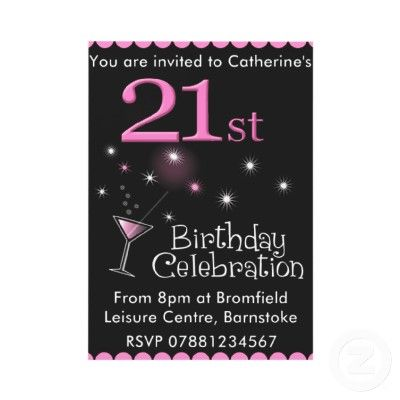21st Birthday Party Invitation Cocktail Glass from – Zazzle Party Invitations