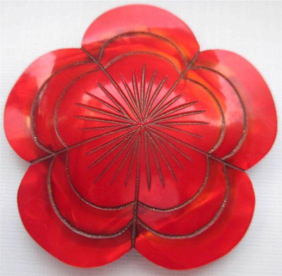Enormous Vintage 1930's Celluloid BUTTON Unique Bright Cherry Red Flower Design