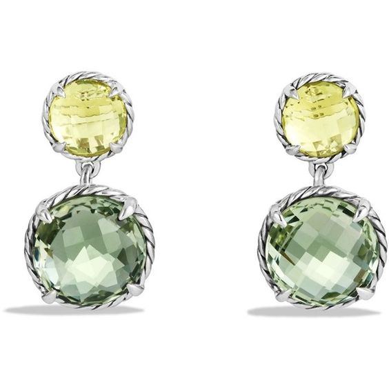 David Yurman Chatelaine Double-Drop Earrings with Prasiolite and Lemon... ($750) ❤ liked on Polyvore featuring jewelry, earrings, green quartz earrings, lemon citrine earrings, prasiolite jewelry, citrine earrings and drop earrings: