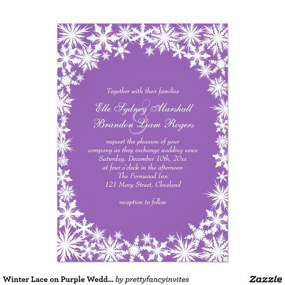Winter Lace on Purple Wedding Invitation