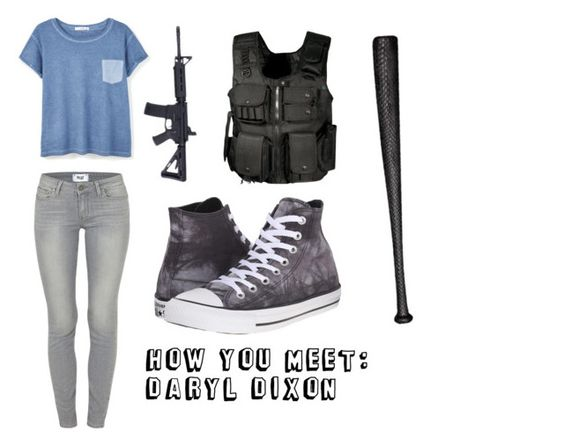 """""""How You Meet: Daryl Dixon"""" by mcglitterpawz ❤ liked on Polyvore featuring art"""
