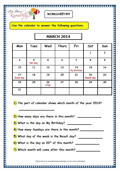 Grade 3 Maths Worksheets 9 1 Calendars Calendar Worksheets Grade 3 Maths Worksheets Kindergarten Worksheets 3rd grade worksheets free printables