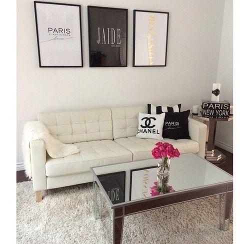 Image Via We Heart It Apartment Bedroom Chanel Decor Girly Livingroom Pink Room