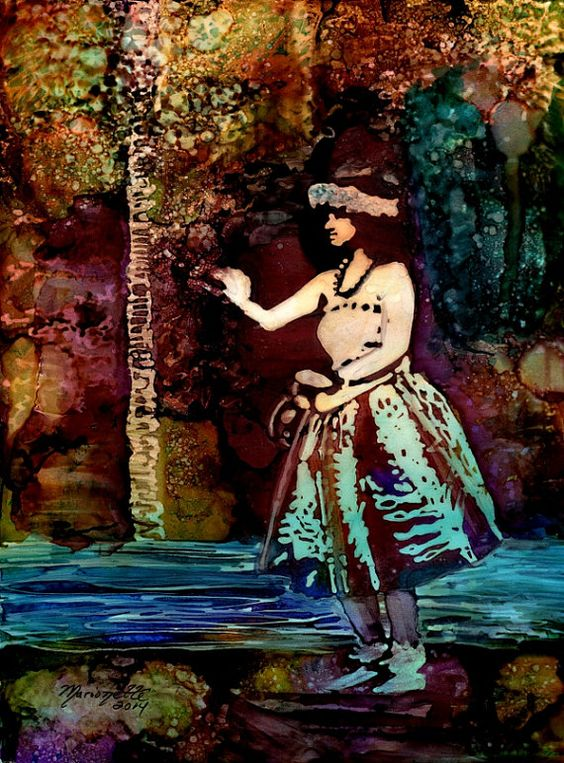 Alcohol Inks on Yupo Painting Hula Dancer from by kauaiartist