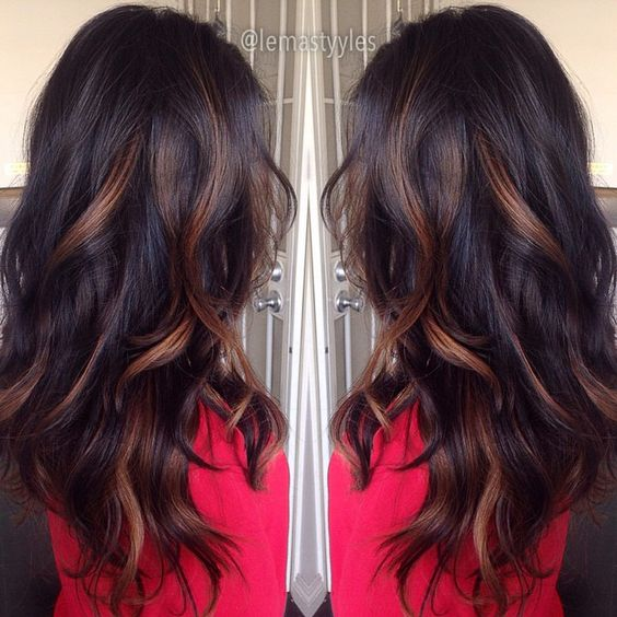 Caramel highlights on straight black hair