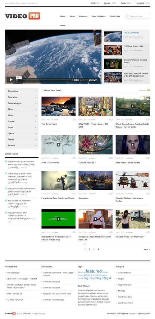 VideoPro made by Theme Junkie is a WordPress video blogging theme which can be used for review, blog or any video basd site. ☺  ☻ ☺  ☺