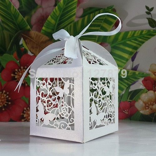 120 Pcs Laser Cut Butterfly and Flower Wedding Candy Box / Party Favor Baby Shower / Paper Gift Box With Ribbon