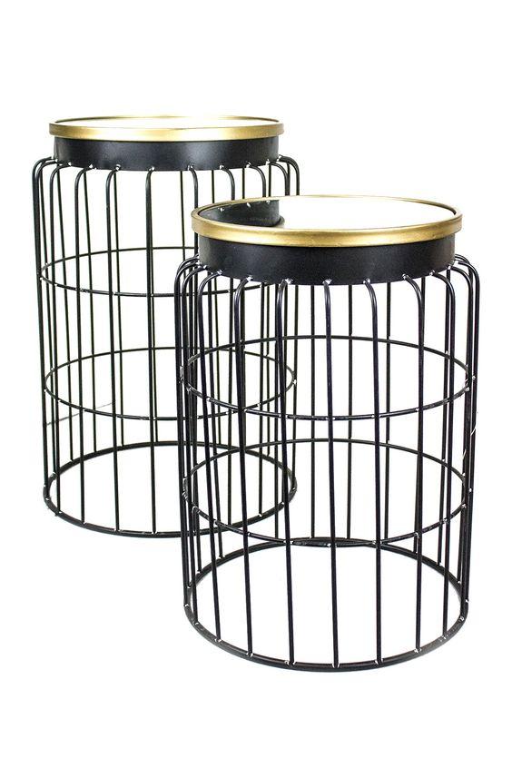 Black Metal Side Tables - Set of 2