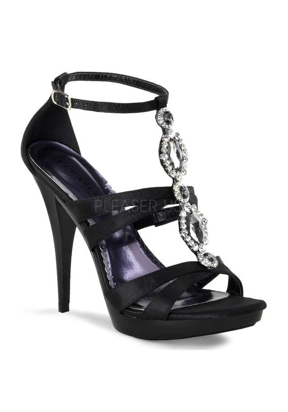 4 3/4 Inch Heel, 3/4 Inch Platform Strappy T-Strap Sandal with ...
