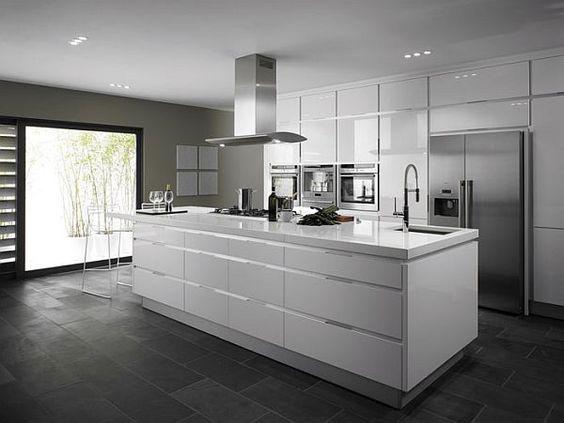 Dark grey floor, dark grey work surface and pale grey shiny cupboards