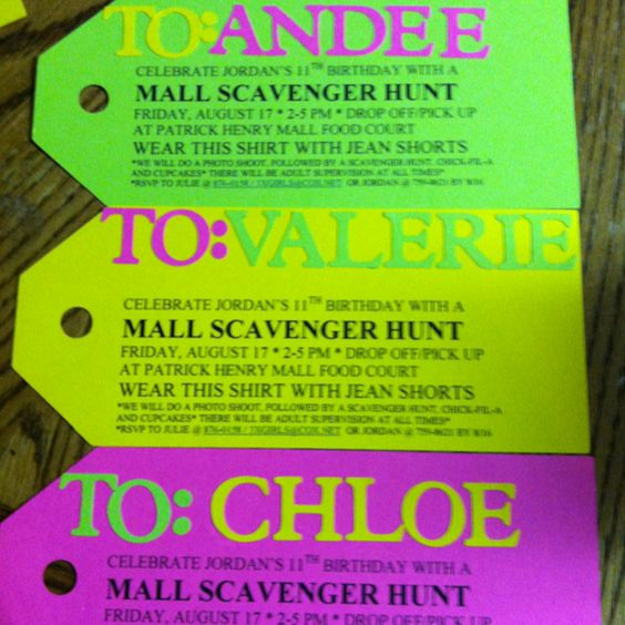 Scavenger Hunt Birthday Party Invitations For My Daughter