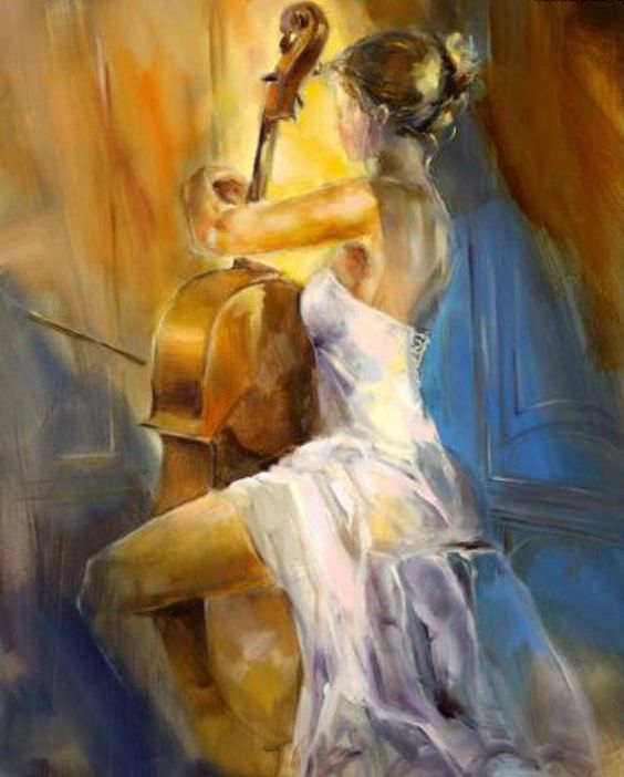This is an absolutely breathtaking work of art. Something about music and beauty when the two are tossed together it's so elegant and serene <3 - Pinterest                                                                                                                                                      Más