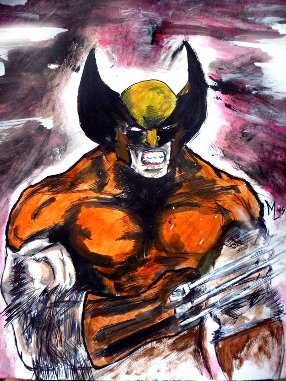 WOLVERINE. Dibujo con birome bic y pintura acrílica aguada. Tamaño A4 (21x29cm)
