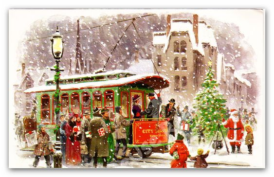 Vintage+Christmas+Card++Trolley+Winter+by+ReuseRecycleRejoice,+$1.00: